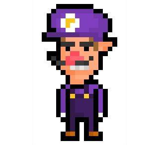 pixel art waluigi