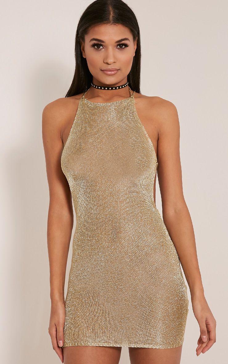 fe1701043c Charlay Gold Metallic Halterneck Mini Dress - Dresses- PrettylittleThing |  PrettyLittleThing.com