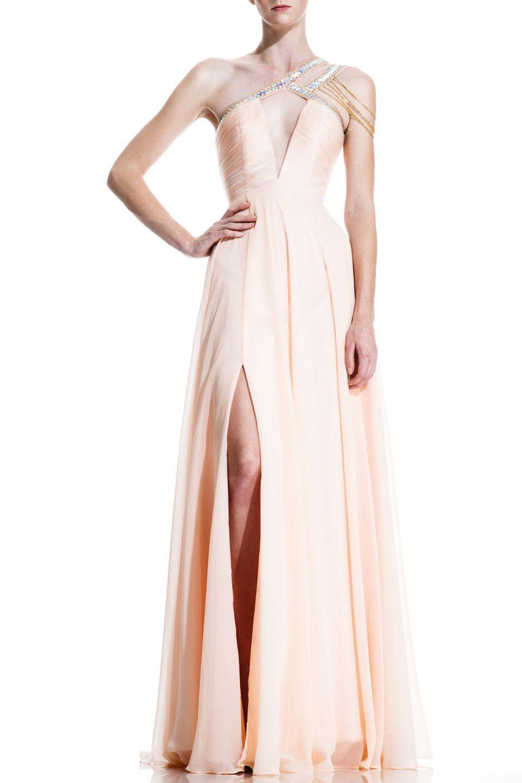 Johnathan kayne pleated mesh chiffon evening gown in peach