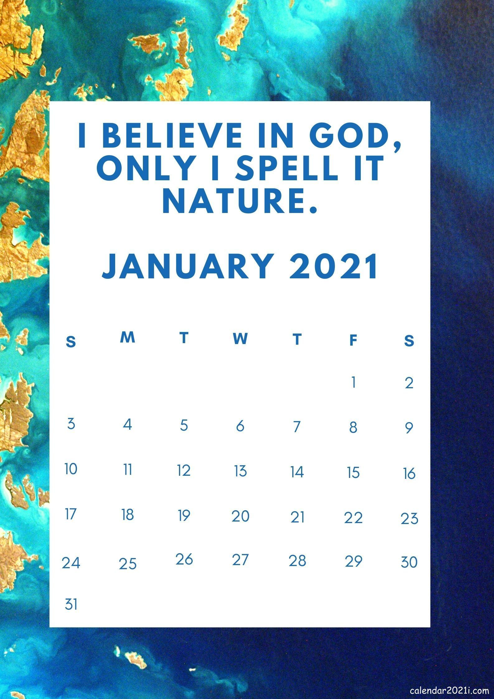 January 2021 Motivational Calendar with quotations and ...