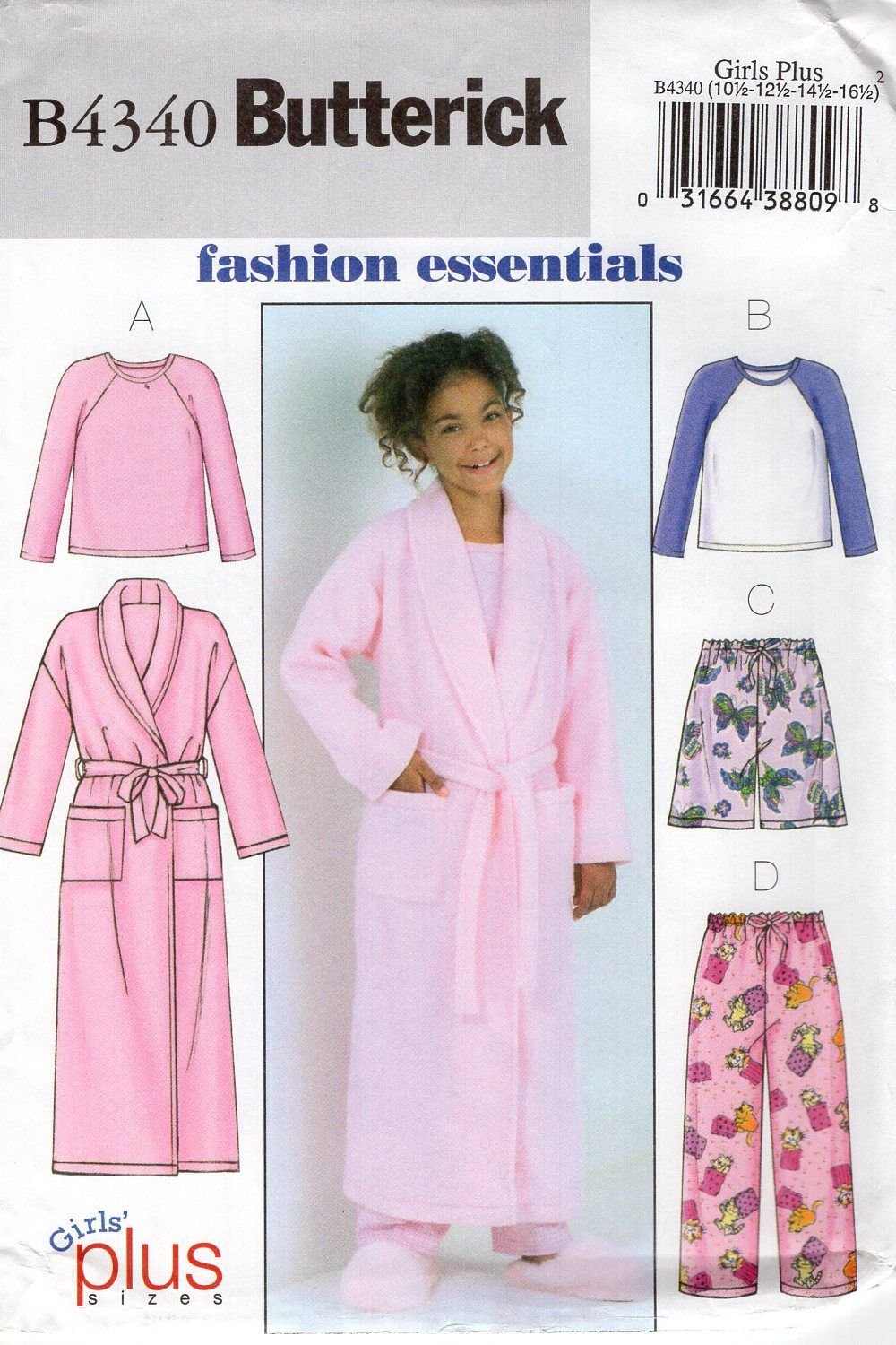 Butterick 4340 free us ship girls plus pjs pajamas bath robe top butterick 4340 free us ship girls plus pjs pajamas bath robe top pants shorts sewing pattern jeuxipadfo Gallery