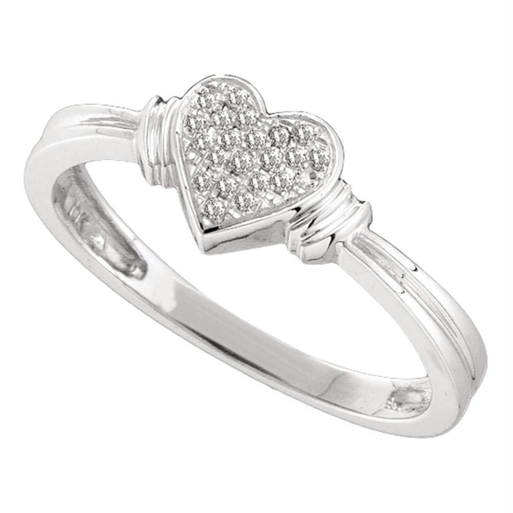 10kt White Gold Women S Round Diamond Heart Love Cluster Ring 1 12 Cttw Free Shipping Us Can Diamond Heart Pave Ring Black Gold Jewelry