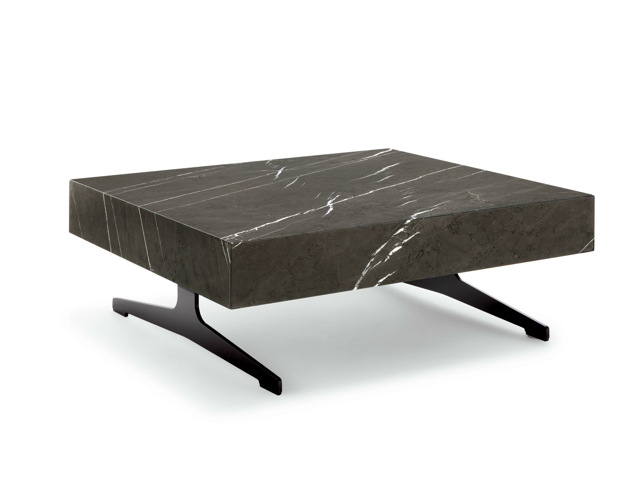 Thick Square Black Stone Top Coffee Table With Short Black Metal