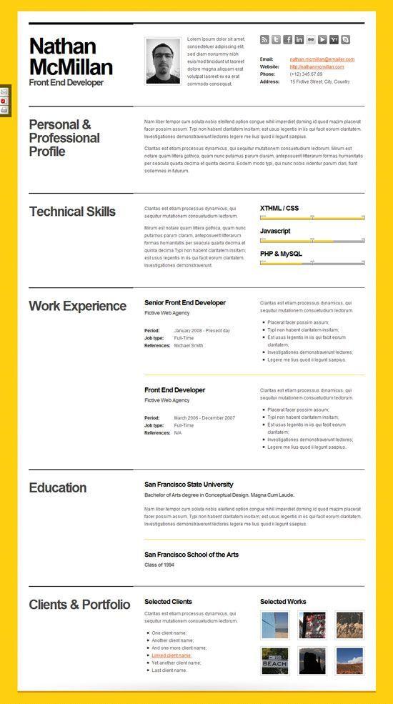 10 Beautiful Resume HTML Templates Resume  Portfolio Cv resume