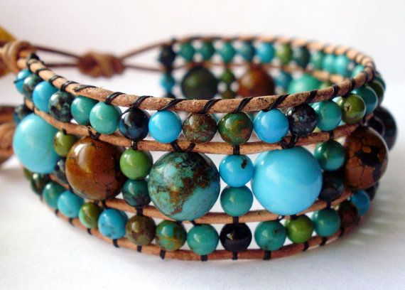 Leather Beaded Wrap Bracelet Or Cuff Multi By Kindstones On Etsy