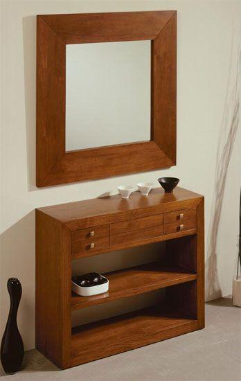 Consola recibidor wood espejos y consolas decoracion - Mesa de recibidor ...