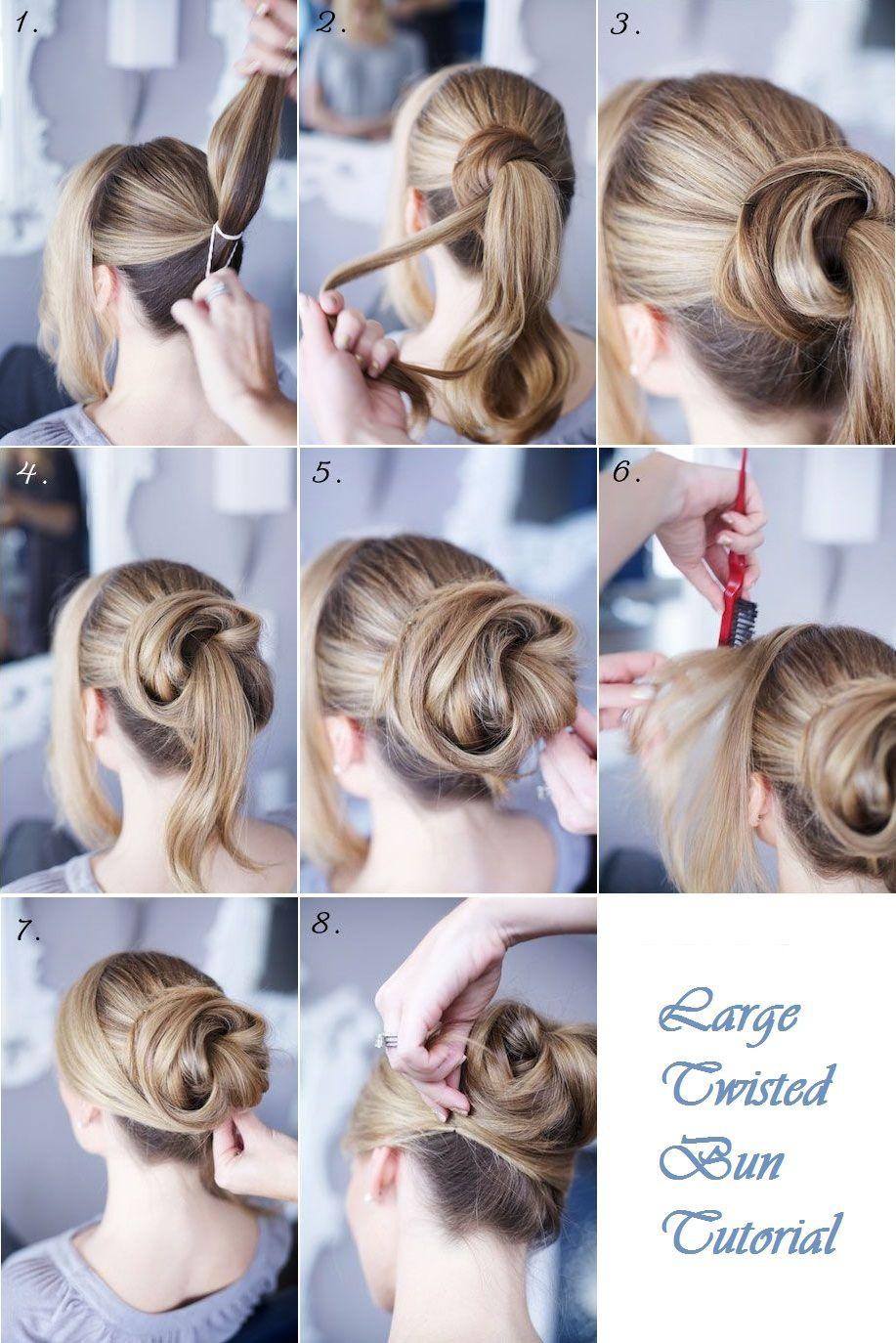 Large twisted bun tutorial things to wear pinterest bun