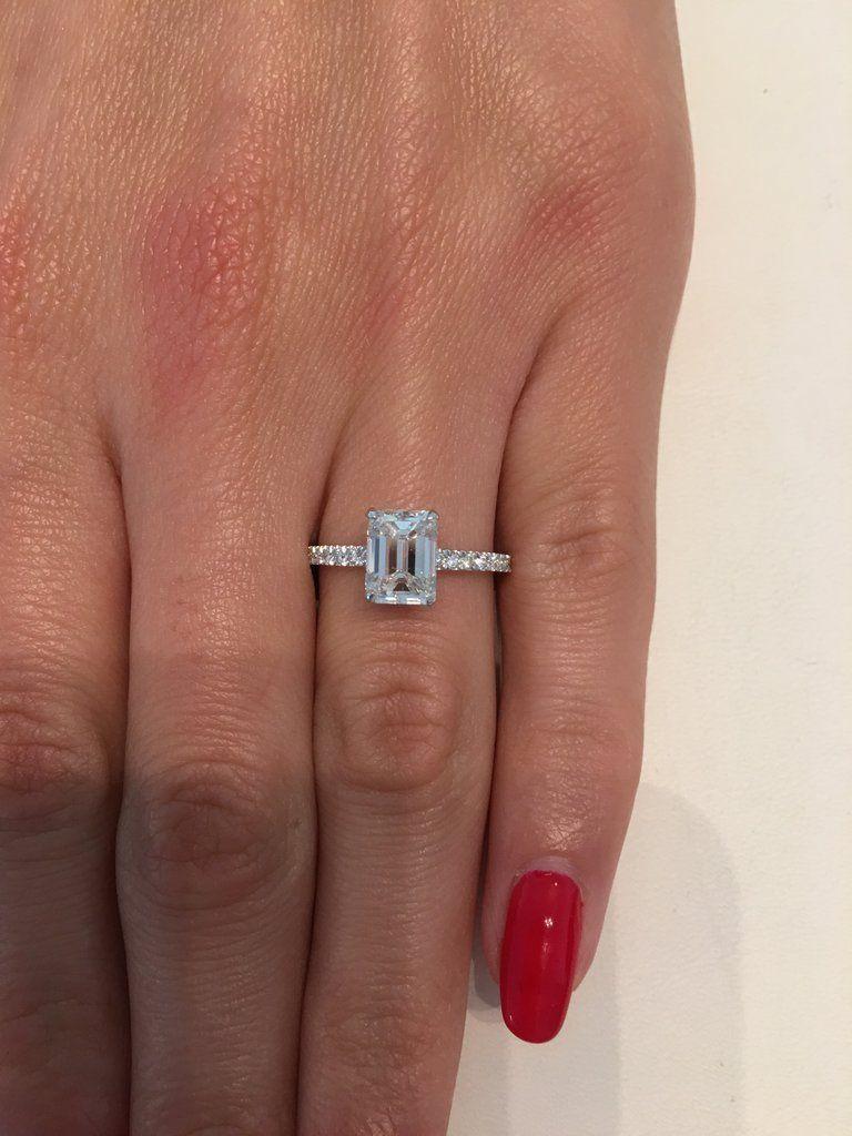 2.05 Carat Emerald Cut Hidden Halo Micropaved Diamond Engagement Ring – BenzDiamonds