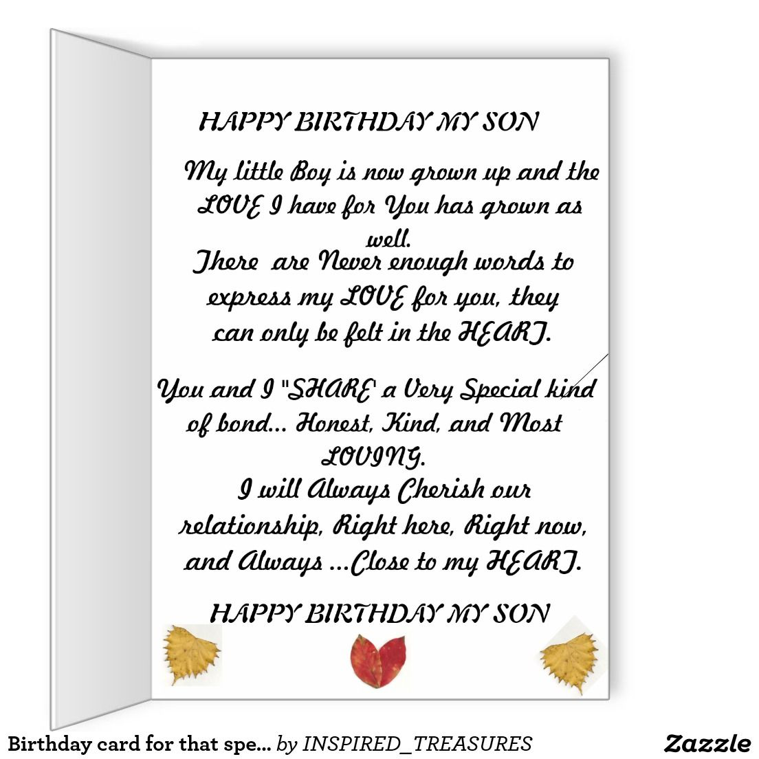 Birthday Card For That Special Son Zazzle Com Birthday Cards Birthday Cards For Son Birthday Words