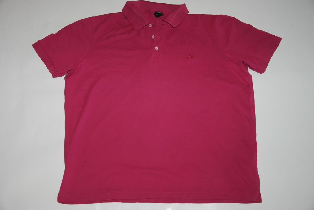 Based UK Hugo Boss Pima Cotton Mens Polo Shirts Ferrara 50174746 Pink XXL  Short
