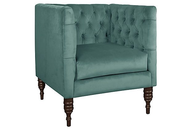 Aldridge Club Chair Velvet Teal On Onekingslane Com