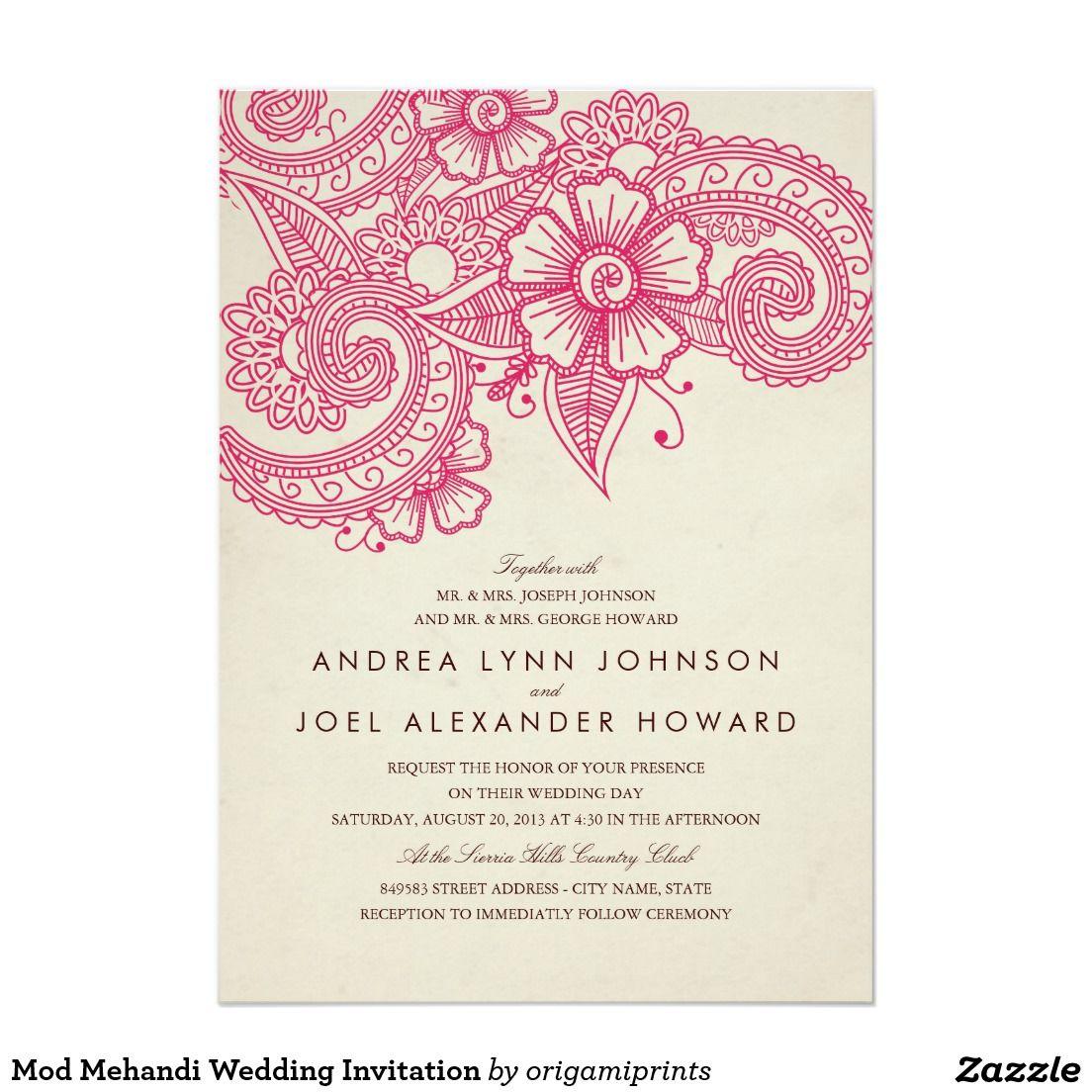 Mod Mehandi Wedding Invitation. Artwork designed by Origami Prints. Price $2.01
