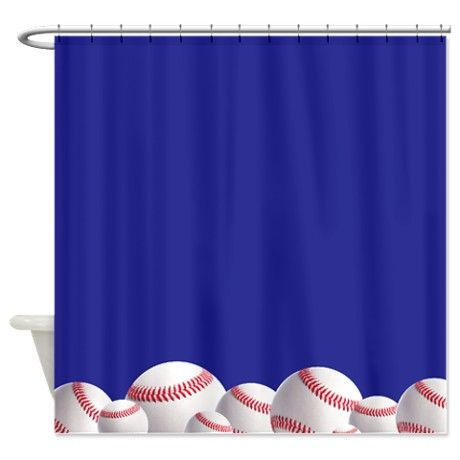 Navy Blue Baseball Shower Curtain By Inspirationz Store Baseball