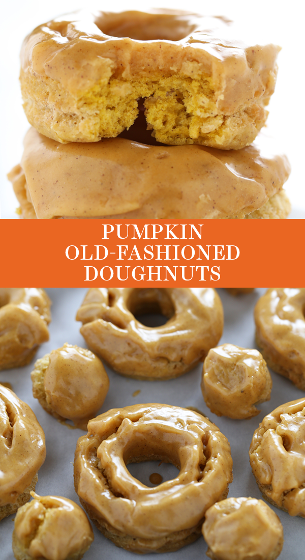 Pumpkin Old Fashioned Doughnuts are fried to perfection and loaded with pumpkin spice flavors and a thick shiny pumpkin glaze. No yeast required! The best easy homemade dessert recipe for fall! Great for a special brunch or breakfast for a crowd. #pumpkindonuts #oldfashioneddoghnut #pumpkindoughnut #pumpkindesserts #pumpkindesserts
