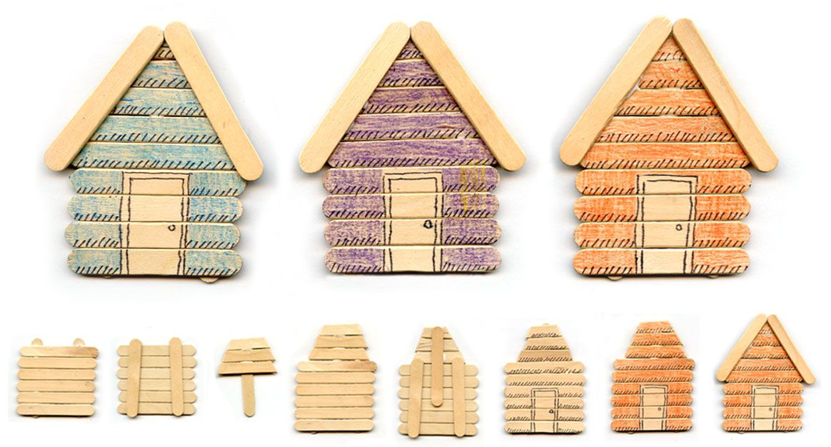 Art projects for kids popsicle stick cabins would work for Popsicle art projects