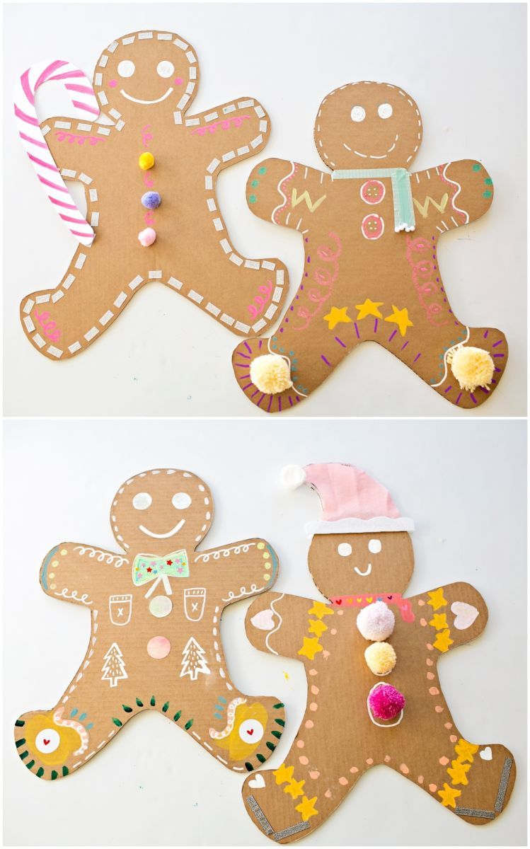 Giant Cardboard Gingerbread Man Art Craft Activities For Kids Christmas Crafts For Kids Recycled Crafts Kids Gingerbread man art activities for