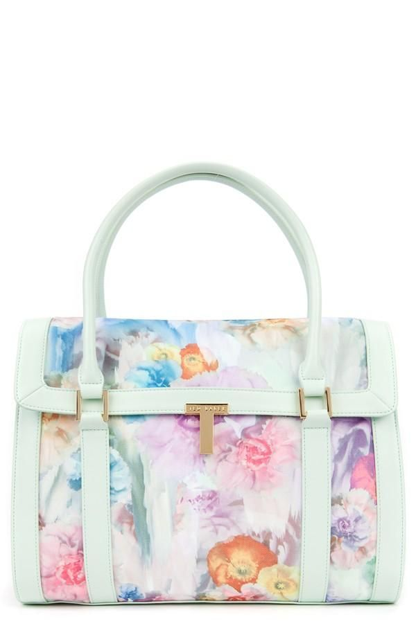 This Ted Baker floral print tote is so sweet and feminine. The mint finish  is absolutely beautiful. 216c3bc81db8a