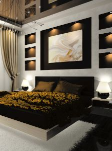 An Elegant And Luxurious Black And Gold Master Bedroom. For More  Inspirations See Our Master Bedroom Collection ...
