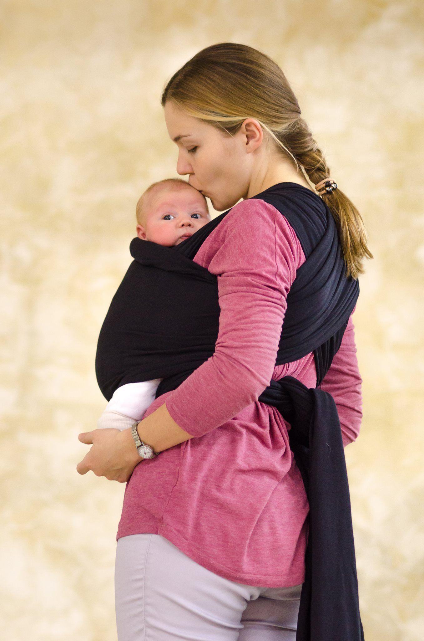 Elastic Baby Wrap Carrier Infant Sling Black Stretchy Newborn