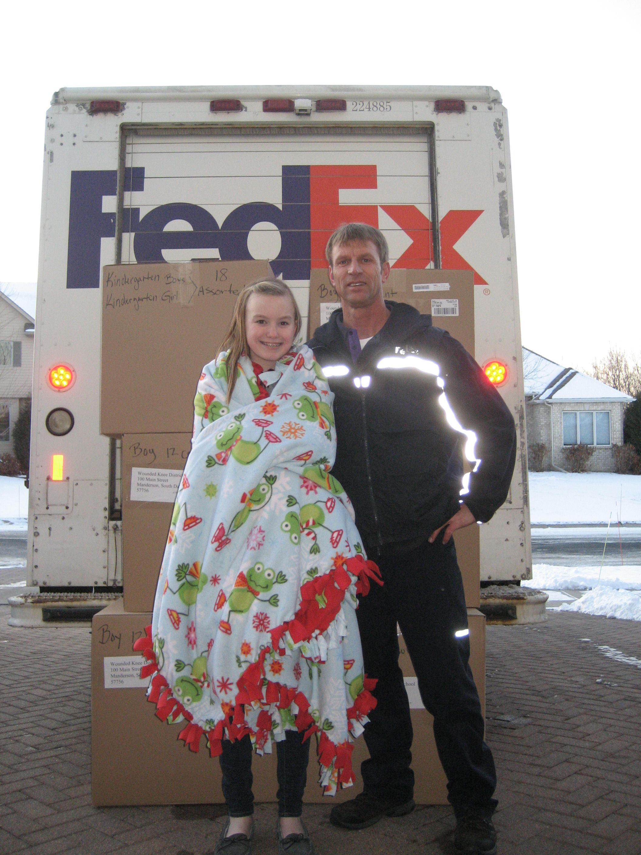 Special delivery of blankets for Christmas on Indian