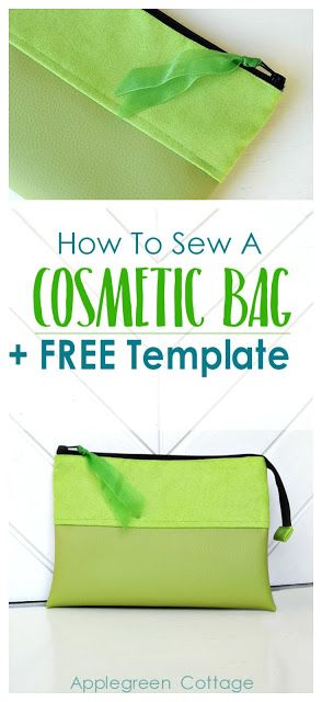 How To Sew A Cosmetic Bag - Free Template Pinterest Beginner - slip template