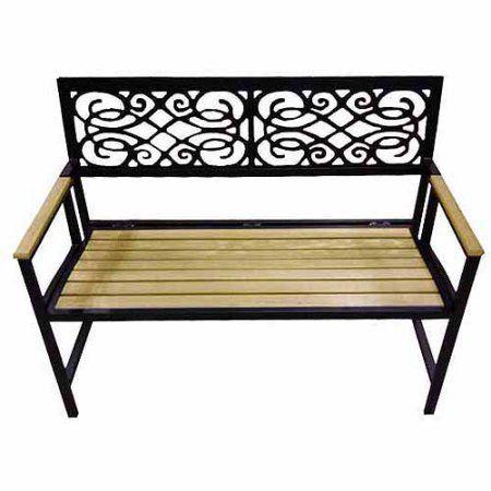 DC America Folding Park Bench, Natural Wood Tone Slats, Bronze ...