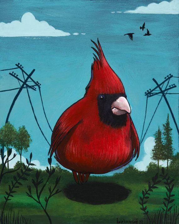 Bird on a Wire. fat bird, cardinal, birds, telephone wires, wires ...