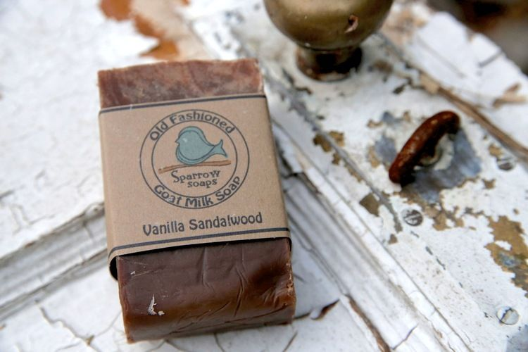 Vanilla & Sandalwood goat milk soap  5.00 Two relaxing scents blended into one nourishing bar of goat milk soap.  Woodsy sandalwood with warm vanilla undertones.  Definitely a bath-time favorite!  We begin with a generous amount of nutritious goats milk from our own herd of dairy goats, add in the olive oil; soybean oil; palm oil; and coconut oil. We then add in the perfect amount of vanilla and sandalwood essential oil blends.