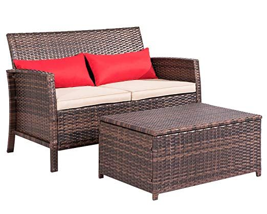 Outdoor Furniture Wicker Love Seat With Coffee Table 2 Piece Set