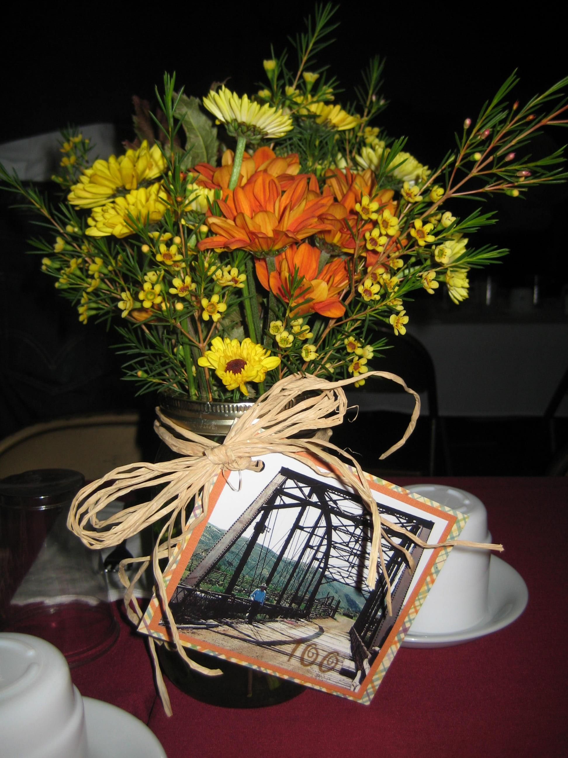 Flowers Centerpiece For 100th Birthday Party
