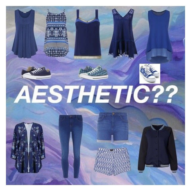 """Aesthetic Navy Blue??"" by luve48 ❤ liked on Polyvore featuring Dorothy Perkins, WithChic, Boohoo, J.Crew, HVBAO, Converse, aesthetic and gottalovenavyblue"