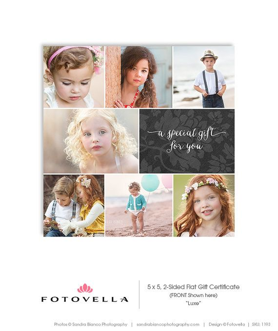 Photography Gift Certificate - 5x5 Two Sided Card - Photoshop - best of photographer gift certificate template