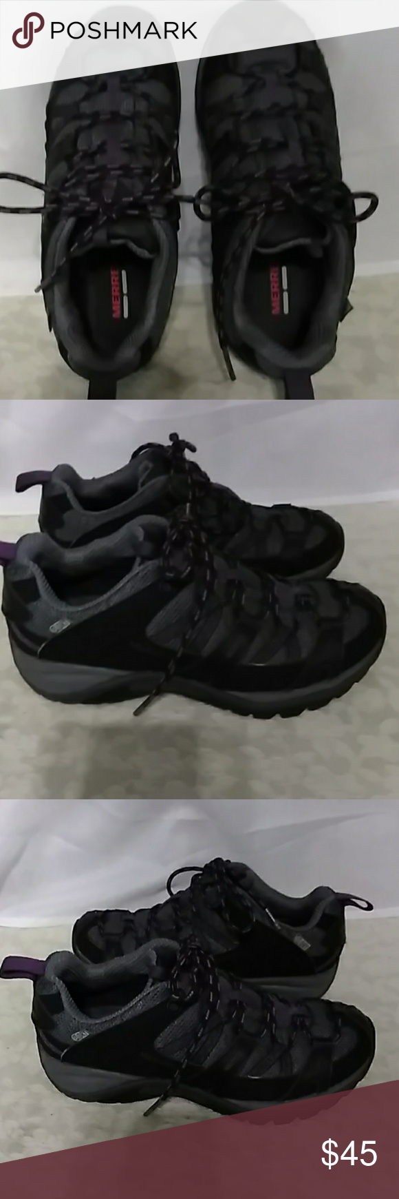 57a86e8139 Merrell Damson Siren Sport 2 Womens black hiking trail outdoors. They are  in EUC. Colors of black, grey, and purple. Merrell Shoes Athletic Shoes