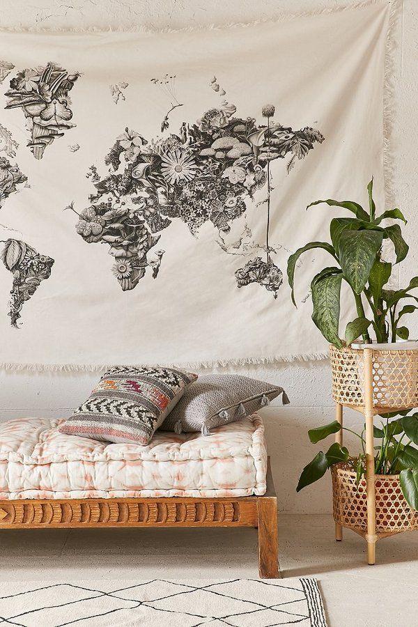 World Map Tapestry Black And White : world, tapestry, black, white, Urban, Outfitters, Armando, Tapestry, Decor,, Bedroom,, Decor