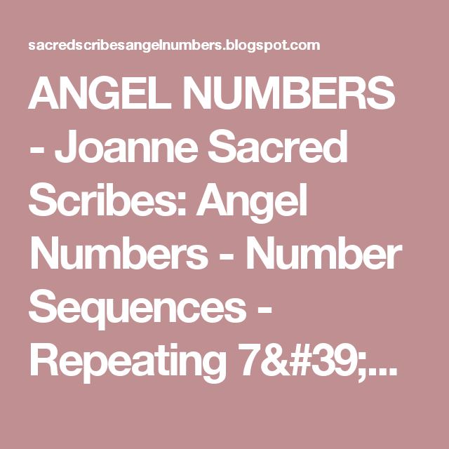 ANGEL NUMBERS - Joanne Sacred Scribes: Angel Numbers - Number