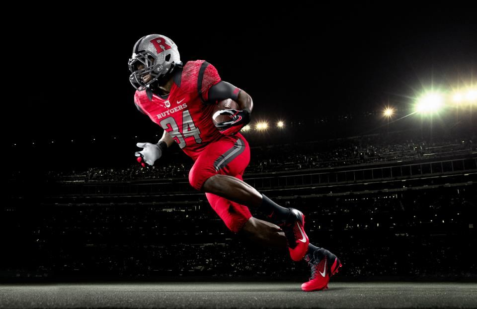 Rutgers Nike Red On Red Action Shot College Football Uniforms Football Uniforms Sports Uniforms