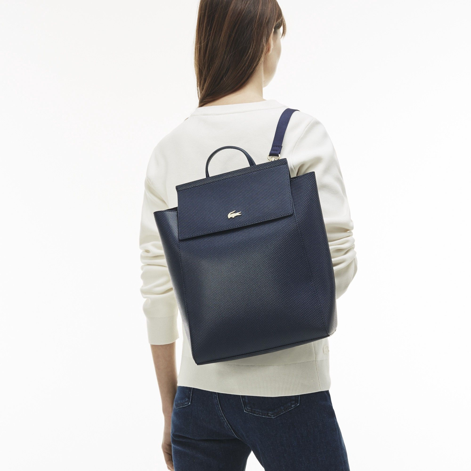 241c50b49f LACOSTE Women'S Chantaco Piqué Leather Backpack - Black ...