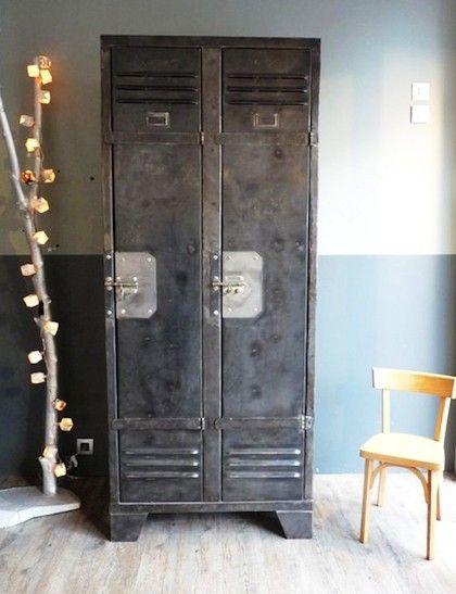 locker - industrieel interieur - metalen kast - industriële kast, Deco ideeën