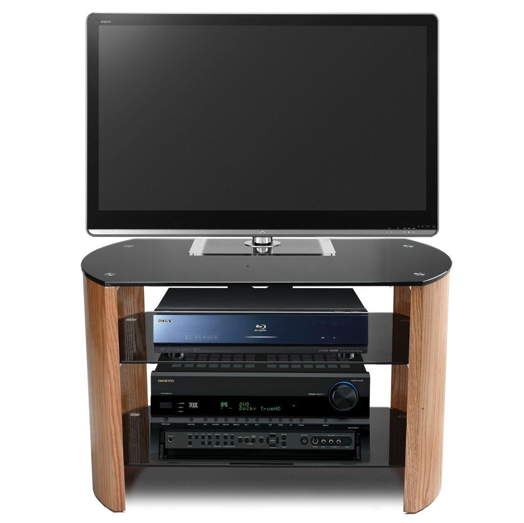 Stil Stand Light Oak Curve Designer Tv Stand Up To 42 Stuk2070  # Meuble Tv Cache Cable