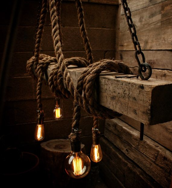 The Beam Rope Light Barn Pendant Wood Ceiling Chandelier Accent Hanging Rustic Edison Bulb Statement