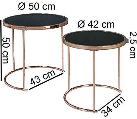 Finebuy Design Couchtisch Deco Glas Kupfer Tisch 2er Set Satztisch