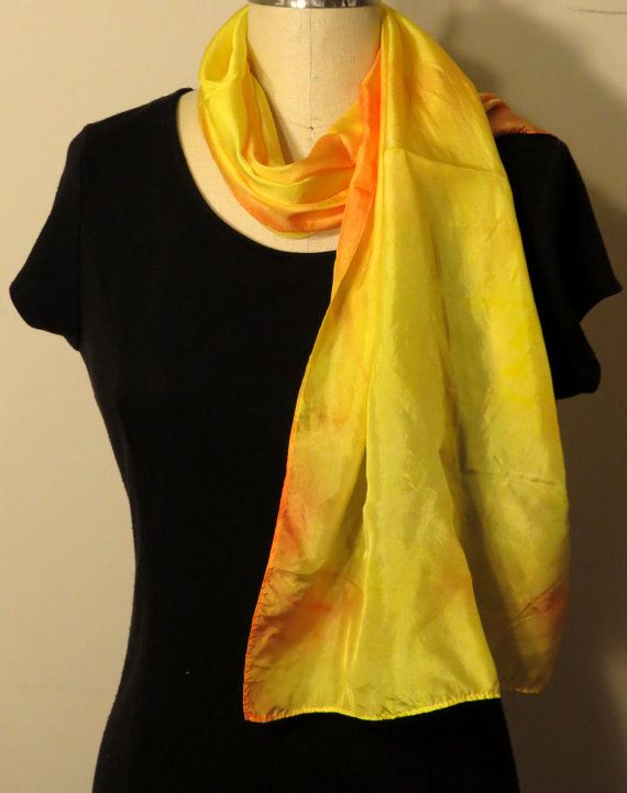 Yellow Orange Silk Scarf by WhiteWingScarves on Etsy, $30.00