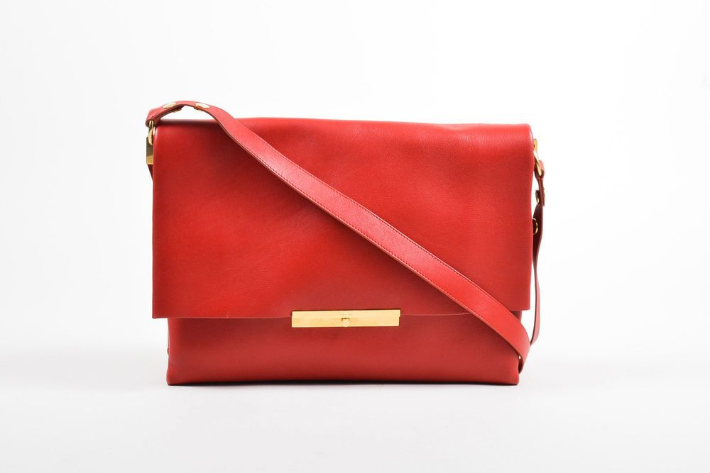 30b7409417 Celine Red Leather Gold Tone Flap
