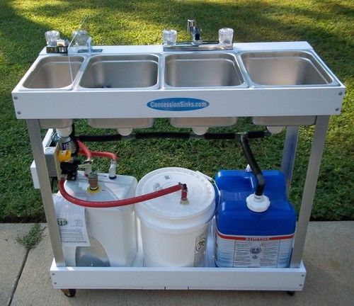 Sink Mobile Concession 3 Compartment Hot Water Large Basin Hand Washing Station Ebay 1295 Food Truck Food Trailer Food Truck Business