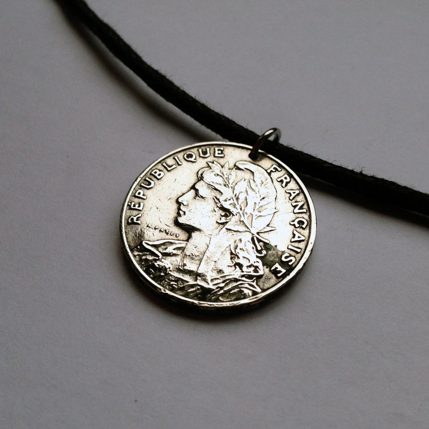 1903 France 25 centimes coin pendant charm necklace jewelry Marianne freedom hair woman French Lady Laureate liberty FRANÇAISE No.000797 by acnyCOINJEWELRY on Etsy