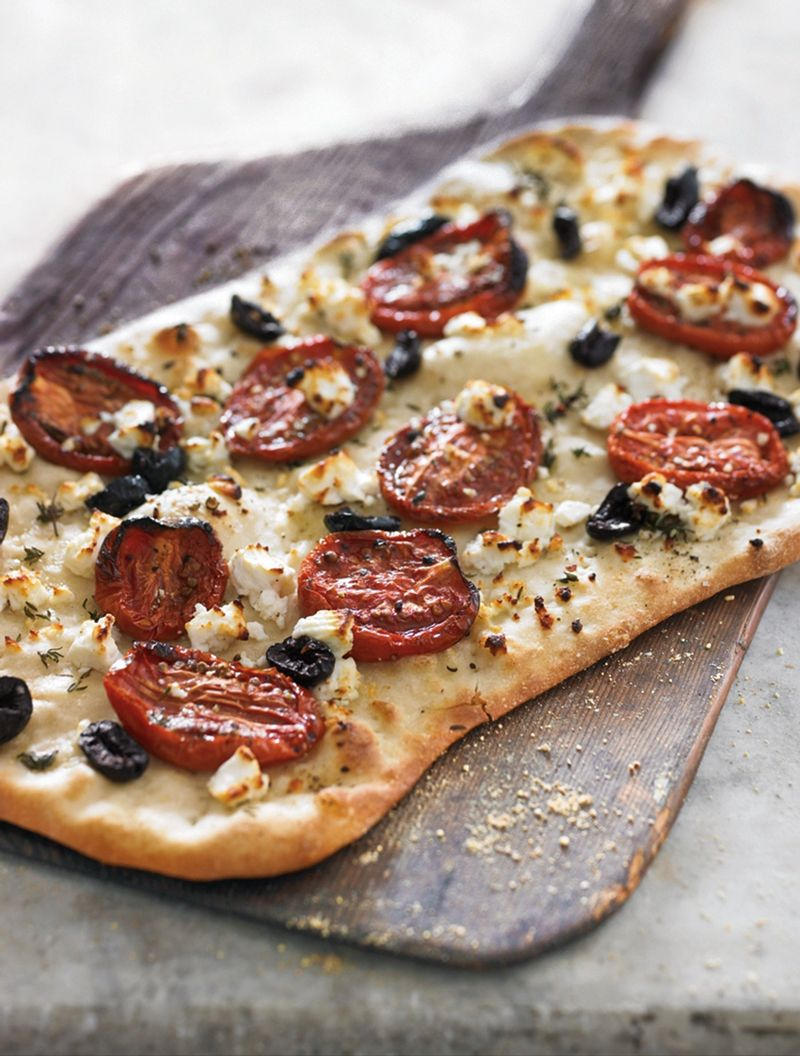 Flatbread With Feta Thyme And Oven Roasted Tomatoes Oven