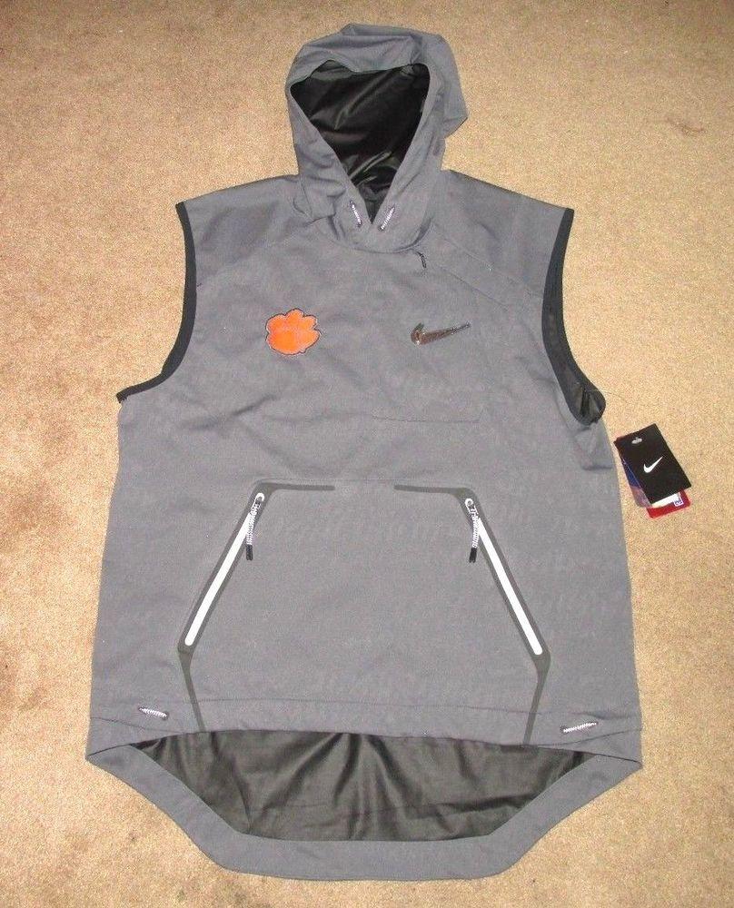 Nike Clemson Tigers CFP Pregame Hooded Vest Mens M Dark Grey ...