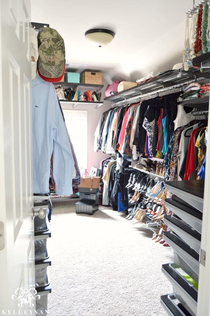 Closet Organization With Elfa System From The Container Store  Organized  Clothes For His And Hers, Shoe Racks, Tie Rack, And A Jewelry Station.