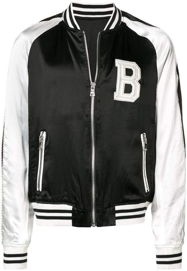 d413ba448 Balmain contrast sleeve bomber jacket in 2019 | Products | Satin ...