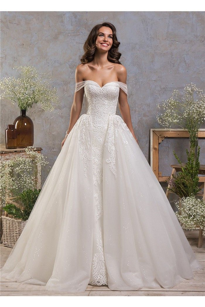 Fantastic Tulle Lace Two In One Wedding Dress With DetachabLe Skirt ...